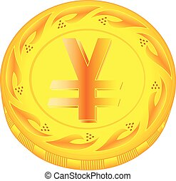 Yen coin - gold yen, metal pound, small change, pocket...