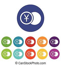 Yen coin flat icon