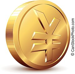 Yen coin - Gold coin with yen symbol. Eps8. CMYK. Organized...