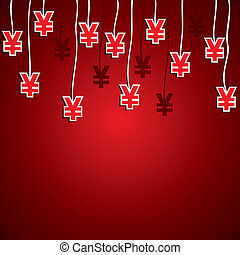 yen currency symbol red background