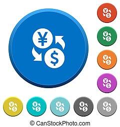 Yen Dollar money exchange beveled buttons