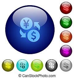 Yen Dollar money exchange color glass buttons