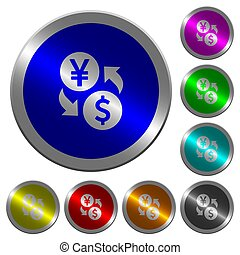 Yen Dollar money exchange luminous coin-like round color buttons