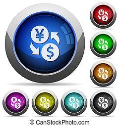 Yen Dollar money exchange round glossy buttons