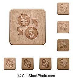 Yen Dollar money exchange wooden buttons