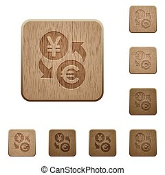 Yen Euro money exchange wooden buttons