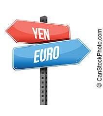 yen euro street sign illustration design over a white...