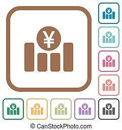 Yen financial graph simple icons