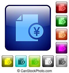 Yen financial report color square buttons