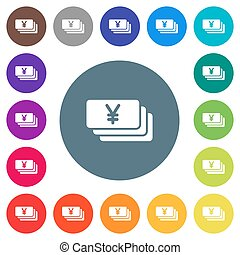 Yen flat white icons on round color backgrounds