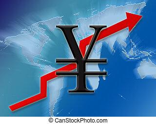 Yen symbol finance going up globally background illustration