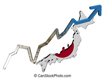 Yen graph on Japan map flag illustration