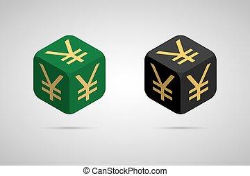 Yen. Green and Black Japanese Yen Cube