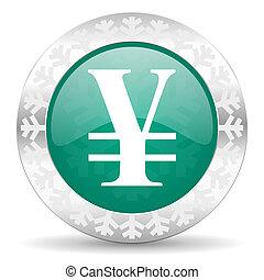 yen green icon, christmas button