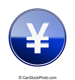 Yen icon glossy blue, isolated on white background