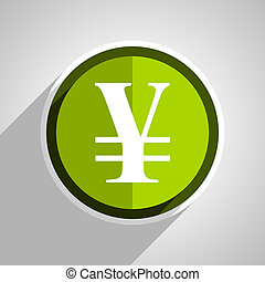 yen icon, green circle flat design internet button, web and mobile app illustration