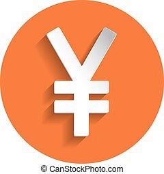 Yen icon, paper style