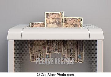 Yen In Shredder - A regular office paper shredder in the ...