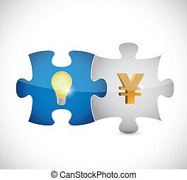 yen, lumière, puzzle, illustration, morceaux, ampoule