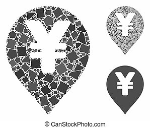 Yen map marker Mosaic Icon of Rugged Parts
