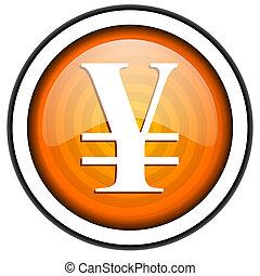 yen orange glossy icon isolated on white background