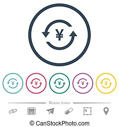 Yen pay back flat color icons in round outlines. 6 bonus...