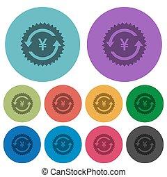Yen pay back guarantee sticker color darker flat icons - Yen...