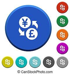 Yen Pound money exchange beveled buttons