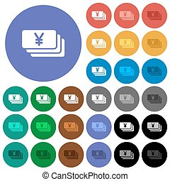 Yen round flat multi colored icons