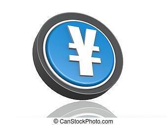 Yen round icon in blue