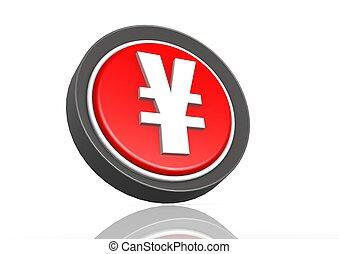 Yen round icon in red