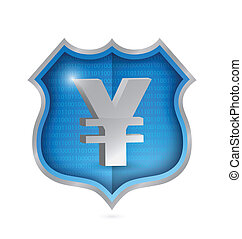yen security shield illustration design