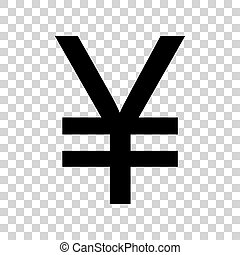 Yen sign. Black icon on transparent background.