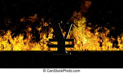 Yen Sign Burning Hot Word in Fire