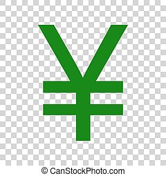 Yen sign. Dark green icon on transparent background.