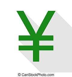 Yen sign. Green icon with flat style shadow path.
