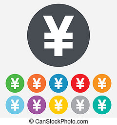 Yen sign icon. JPY currency symbol. Money label. Round colourful 11 buttons. Vector