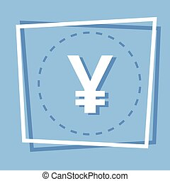 Yen Sign Icon Web Button Flat Vector Illustration