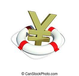 Yen sign in lifebuoy. Isolated on white background