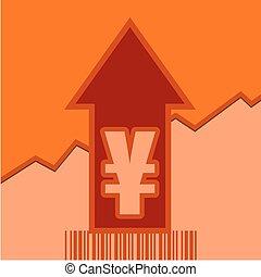 Yen sign on grow up arrow and bar code