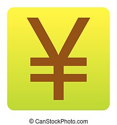 Yen sign. Vector. Brown icon at green-yellow gradient square with rounded corners on white background. Isolated.