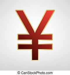 Yen sign. Vector. Red icon on gold sticker at light gray background.