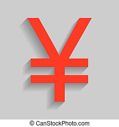 Yen sign. Vector. Red icon with soft shadow on gray background.