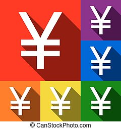 Yen sign. Vector. Set of icons with flat shadows at red, orange, yellow, green, blue and violet background.