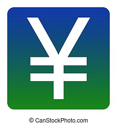 Yen sign. Vector. White icon at green-blue gradient square with rounded corners on white background. Isolated.