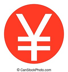 Yen sign. Vector. White icon in red circle on white background. Isolated.