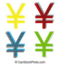 Yen sign. Vector. Yellow, red, blue, green icons with their blac