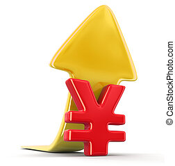 Yen sign with arrow up. Image with clipping path