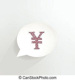 Yen Sign - Yen sign speech bubble.