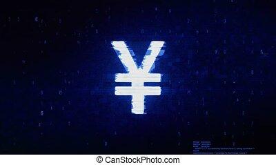 Yen Symbol Currency Symbol Abstract Digital Pixel Noise Glitch Error Video Damage Signal Loop 4K Animation.